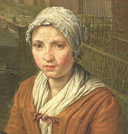 "1700 - 1752. Detail of ""De Koopvrouw"" (the merchant) by Peter Snijers.  Women -- Clothing & dress -- 1700-1799 -- Netherlands. 18th century Dutch costume."