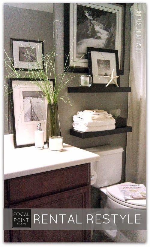 small bathroom makeover i like the floating shelves above toilet