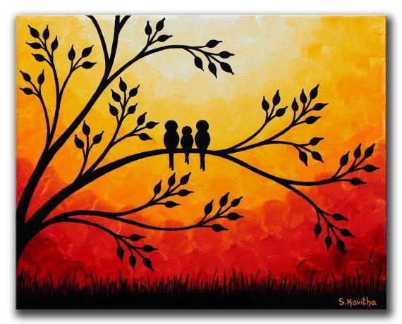 Family birds Artwork Original Painting 8x10 door SKArtzGallerE