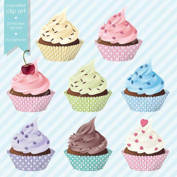 Digital Cupcakes clip art cupcake clipart for by xoDigitalArt, $6.00
