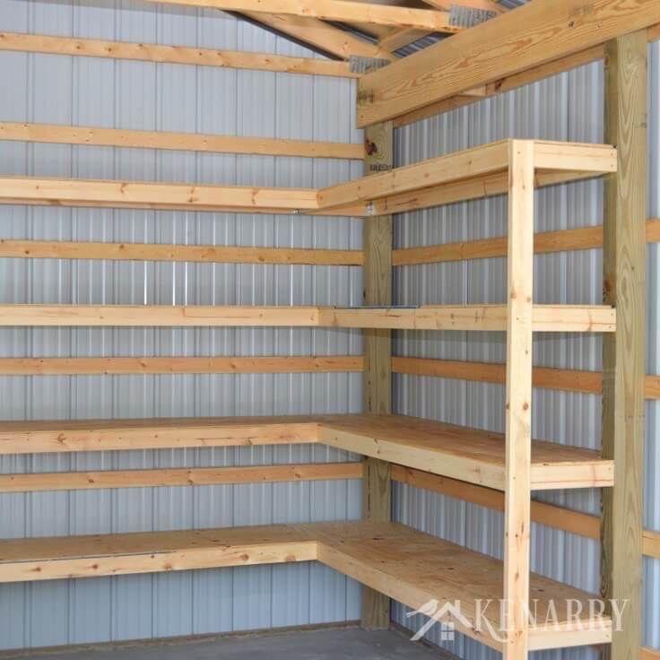 Pin On Garage Storage Shelves: DIY Corner Shelves For Garage Or Pole Barn Storage