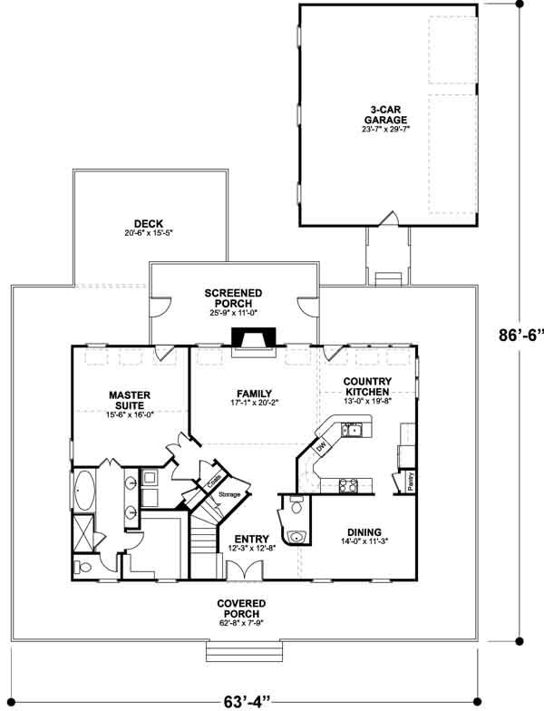 Country Style House Plans 2098 Square Foot Home 2