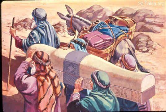 St-Takla.org Image: Moses took the bones of Joseph with him (Exodus 13:17-19) صورة في موقع الأنبا تكلا: موسى يأخذ عظام يوسف معه (خروج 13: 17-19)