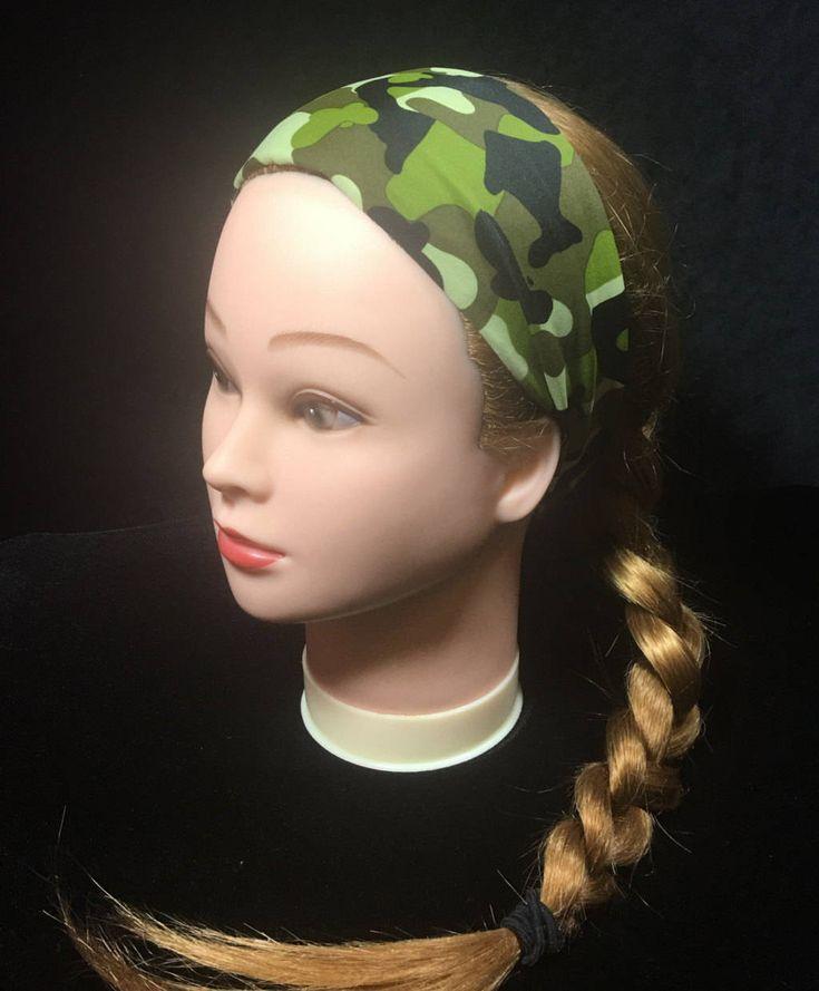 Green Camo Running Headband, Workout Headband, Fitness Wide Headband, Boho Blue Headband, Fitness Headband,Head Wrap, Headband, Workout by Inspiredthread on Etsy