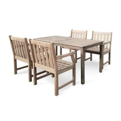 Renaissance Eco-friendly 5-piece Outdoor Hand-scraped Hardwood Dining Set with