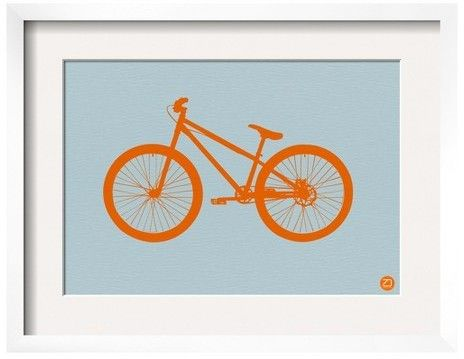 Add a touch of quirky charm to your room with the Art.com, Orange Bicycle by NaxArt, Framed Print. The perfect way to brighten up dorm rooms, children's bedrooms or any other space that could use a little breath of fresh air, this distinctive giclee print is just what you've been looking for. The crisp, white matting, sturdy wood frame and durable acrylic surface cover will keep this wall art looking great for years to come. The included mounting hardware makes for