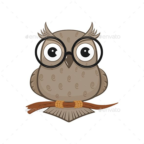 Icon Of Owl With Glasses Isolated On White Background