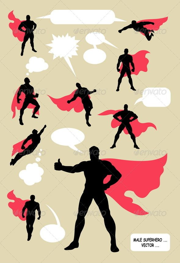Male Superhero Silhouettes - People Characters
