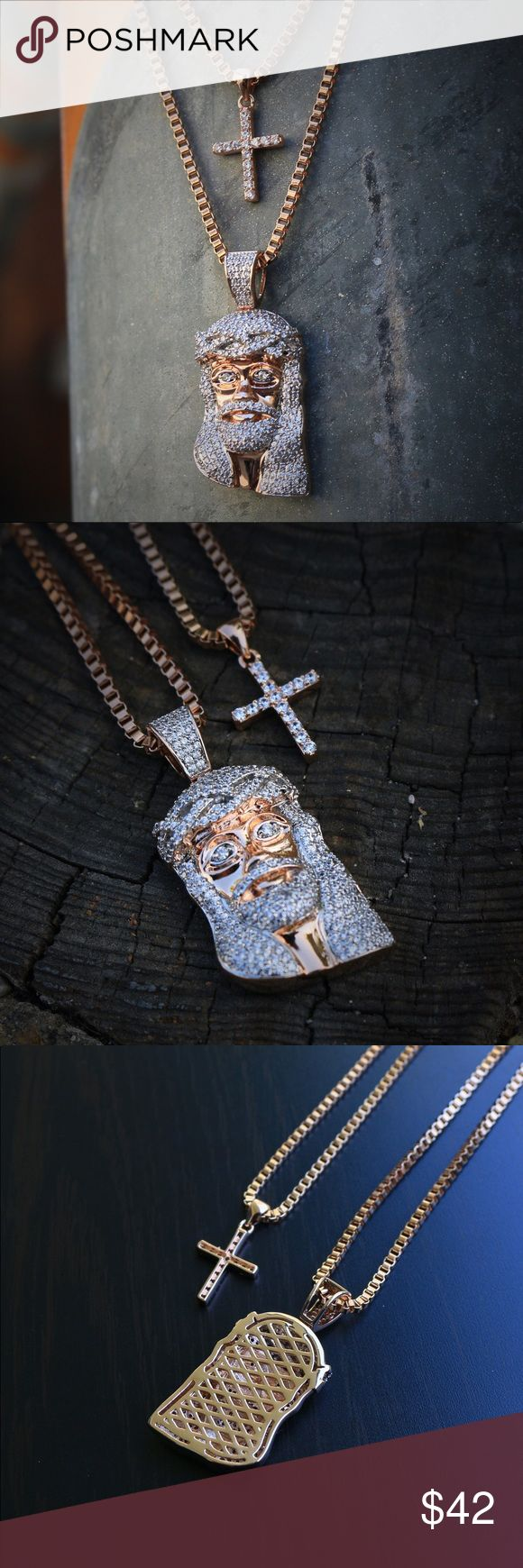 Rose Gold Jesus Piece And Cross Necklace Combo Set Mini Rose Gold Jesus Piece And Cross Necklace Combo Set    This combo set includes one jesus piece pendant and one cross pendant with two chains.    Chain is rose gold plated over 316 stainless steel.    Pendant size is 30mm in length (small).    Comes with two 2mm width 24 and 26 inch length rose gold plated stainless steel box chain TSV Jewelers Accessories Jewelry