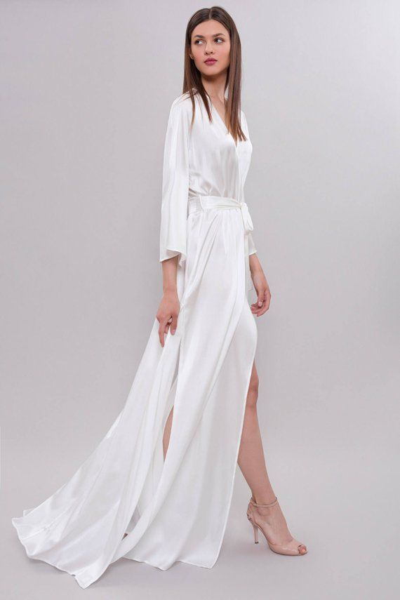 14a642fb2c Long Silk Bridal Robe Bridal Lingerie Wedding Lingerie Long