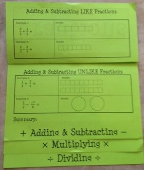 FRACTIONS (FOLDABLES) - TeachersPayTeachers.com