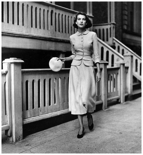 Two-piece dress by Mollie Parnis | Vogue, July 1948. So classic and MODEST!