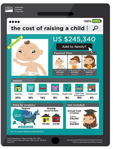 USDA's annual report, Expenditures on Children by Families, provides annual estimates for the cost of raising a child.  This report provides families with an indication of expenses to anticipate, and is used by state and local governments in determining child support guidelines and foster care payments. Click to enlarge.