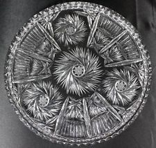 Vintage Heavy Cut Crystal Pinwheel Star Large Round Flat