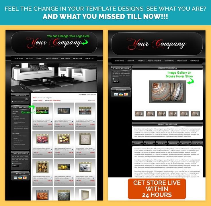 eBay Custom #ListingTemplateDesign in Super #BlackTheme with #Red - product description template