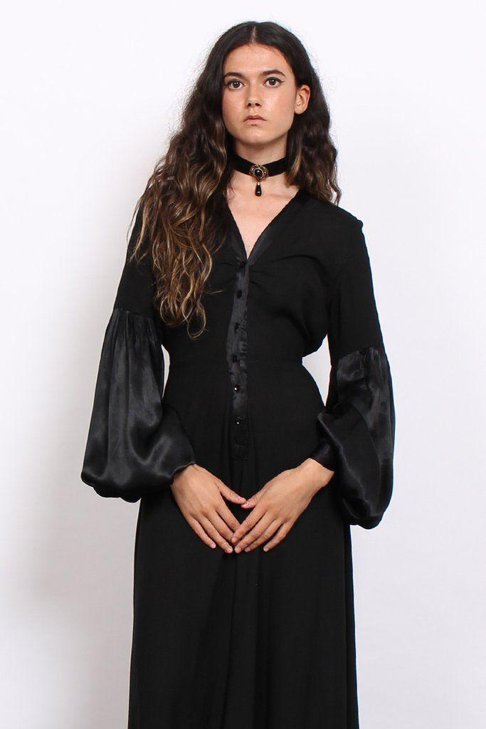 Vintage 70s Black Satin Balloon Sleeve Witchy Maxi Dress