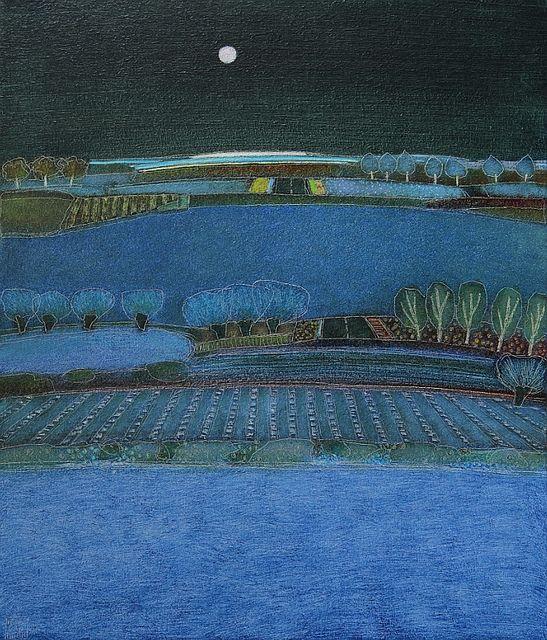 671 - This evening blue - 70x60cm | Landscape by Rob van Hoek
