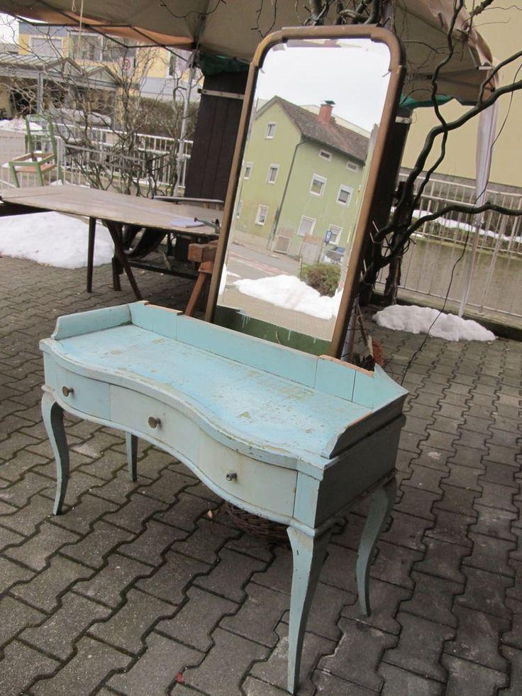 antik frisiertisch schminktisch m spiegel t rkis gold. Black Bedroom Furniture Sets. Home Design Ideas