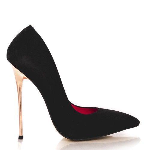 pantofi stiletto din piele naturala 1700 antilopa neagra