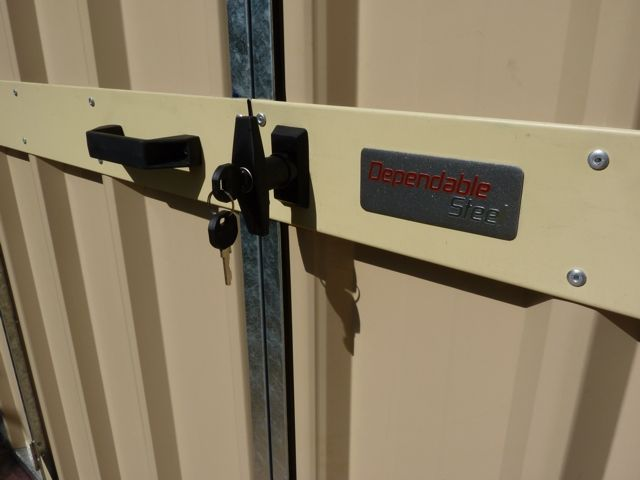 Lockable handles, with up and rod rod locking bars and standard on all Villa and garden storage sheds.