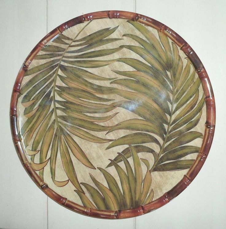 "TROPICAL ISLAND BEACH COASTAL PALM LEAF BAMBOO MELAMINE 6 pc 11"" DINNER PLATES…"