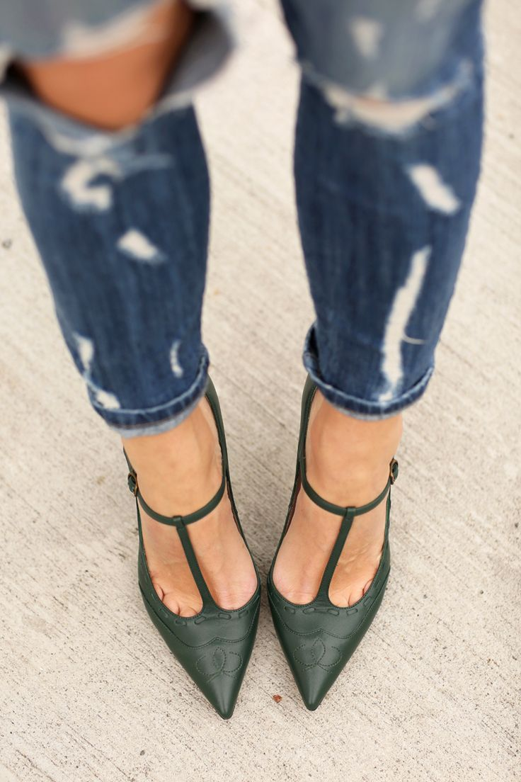Dress down your evening t-strap pumps with distressed denim.