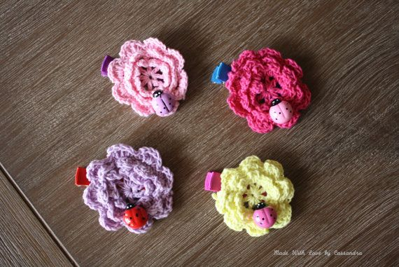Crocheted Flower and Ladybug Hair Clip by MadeWithLoveByCas, $3.99