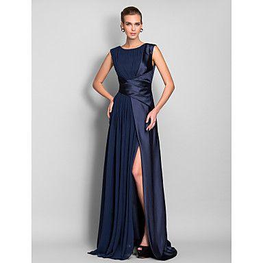 TS Couture Formal Evening / Military Ball Dress - Dark Navy Plus Sizes / Petite Sheath/Column Jewel Sweep/Brush Train Stretch Satin / Chiffon – USD $ 119.99
