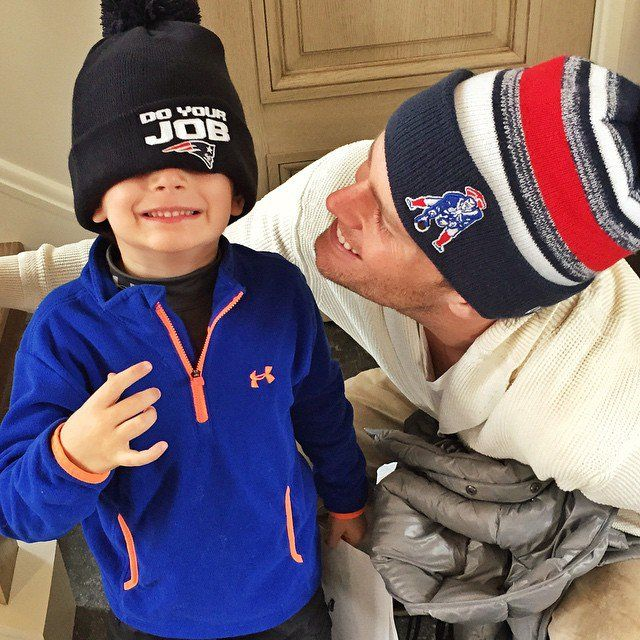 Pin for Later: Gisele, Kim, Shakira, and More Shared the Sweetest Snaps of Their Kids This Week  Tom and Benjamin Brady got ready for the New England Patriots' victory parade in Boston.