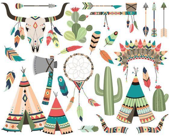 Archivos de conjunto de imágenes prediseñadas tribales - vectoriales, PNG y JPG - 300 DPI alta calidad lindo Clip Art plumas, flechas, cráneo, Cactus, atrapasueños y mucho más!