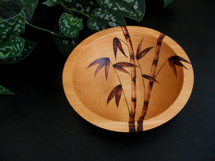 Wooden Bowl - Bamboo, Pyrography Design, Modern, Woodburned, Beech Wood, Made to Order. $44.00, via Etsy.