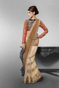 Nakkashi Net Designer Saree In Cream and Beige Colour