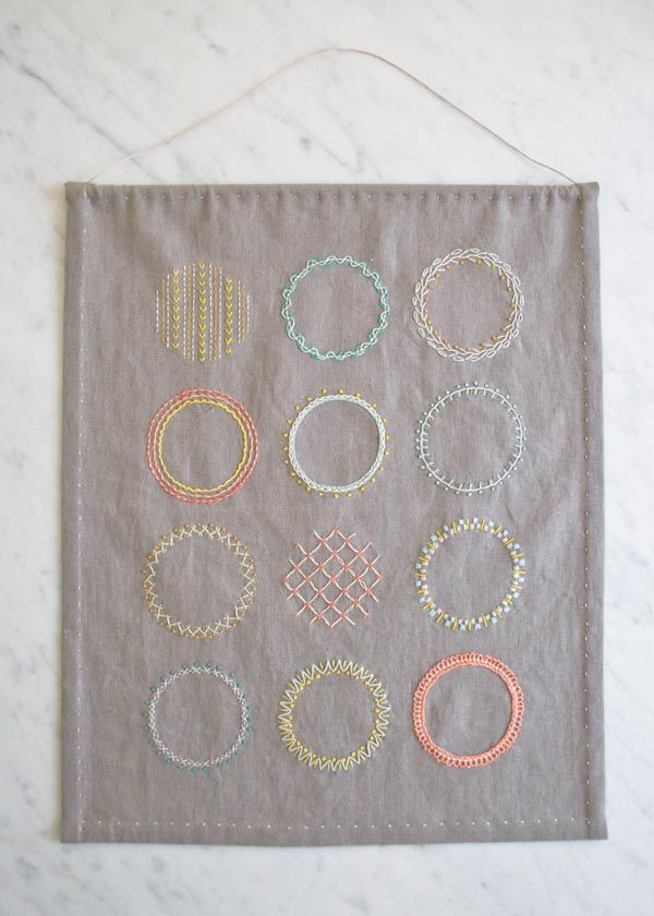 KIT:  Learn to Embroider using Purl Soho's learn to-kits.  Everything you need to learn to do these beginner embroidery stitches + finish this sampler.  Includes fabric, DMC floss, needles, 4-inch hoop, fabric marker, hanging dowel, instructional booklet. Can also buy kit separately).