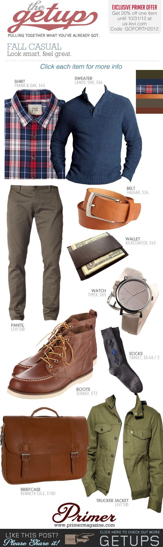 The Getup: Fall Casual & Exclusive 20% Off at us.levi.com | Primer #casual #menstyle #menswear
