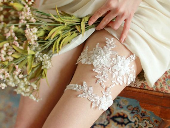 STYLE - #401 CODE:GRT031 Floral lace garter set. Romantic bridal garter set feature ornate floral  lace with airy chiffon flowers.  The floral lace is hand-sewn to stretchy organdy elastic band for light and comfortable fit. To order yours contact us at loca@localoca.co.za www.localoca.co.za