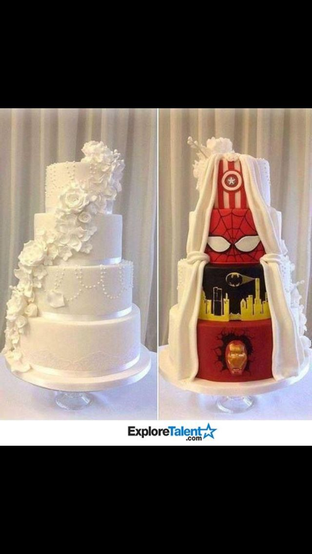 This Couple's Wedding Cake Is A Superhero Cake In Disguise