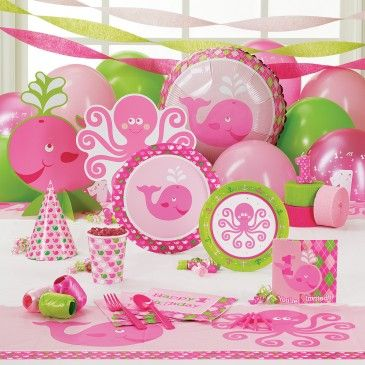 Ocean+Preppy+Girl+1st+Birthday+Party+Supplies