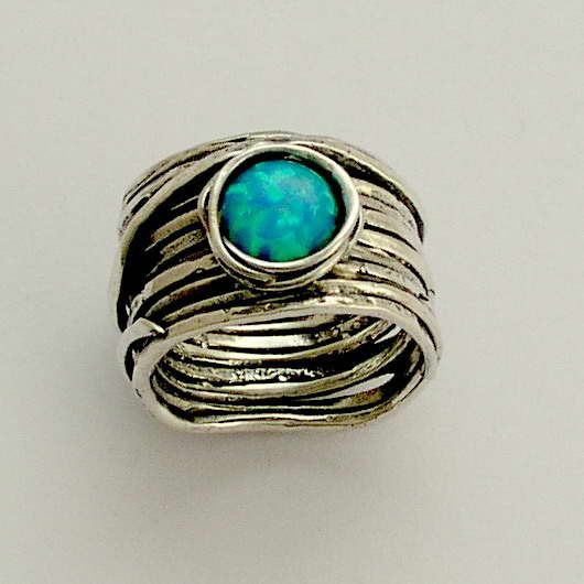 Sterling silver blue opal gemstone wide ring  by artisanlook, $140.00