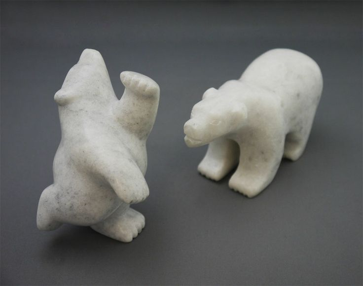 "The MOA Shop: ""Dancing and Walking Polar Bear Soapstones"" by Inuit artists Adamie Mathewsie & Zach Ragee."