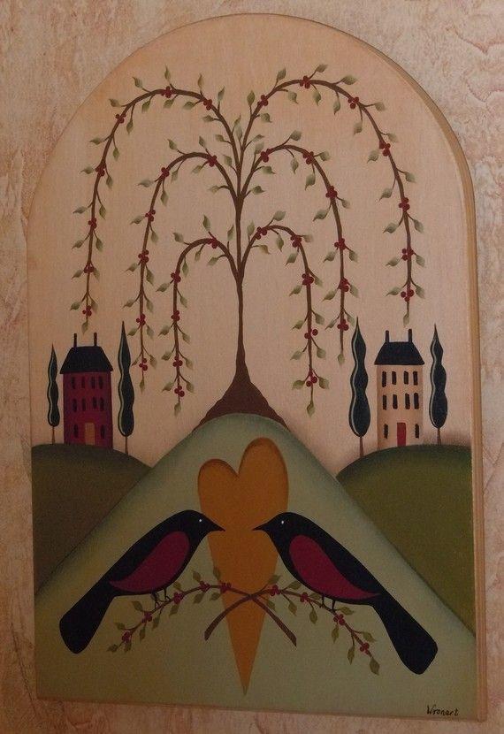 Primitive Folk Art Tree of Life Birds Heart by CoveredBridgePrim, $29.00