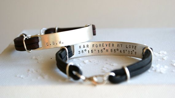Personalised mens recycled silver bracelet by SachaJacobsenDesigns