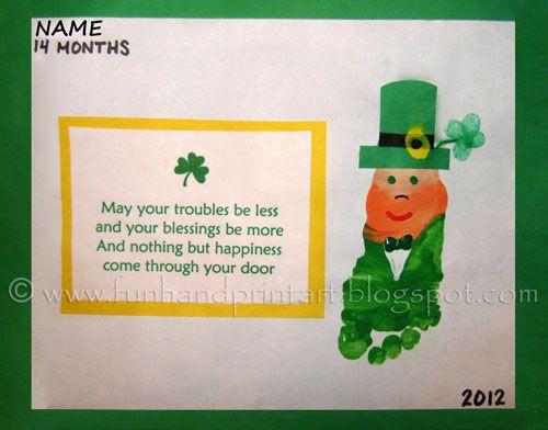 Footprint Leprechaun & St Patrick's Day Saying