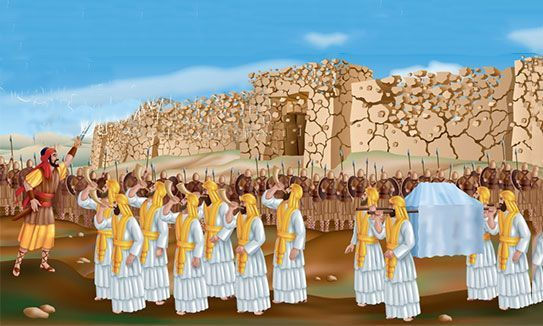 Joshua 6:6 And Joshua the son of Nun called the priests, and said unto them, Take up the ark of the covenant, and let seven priests bear seven trumpets of Rams' horns before the ark of the Lord.