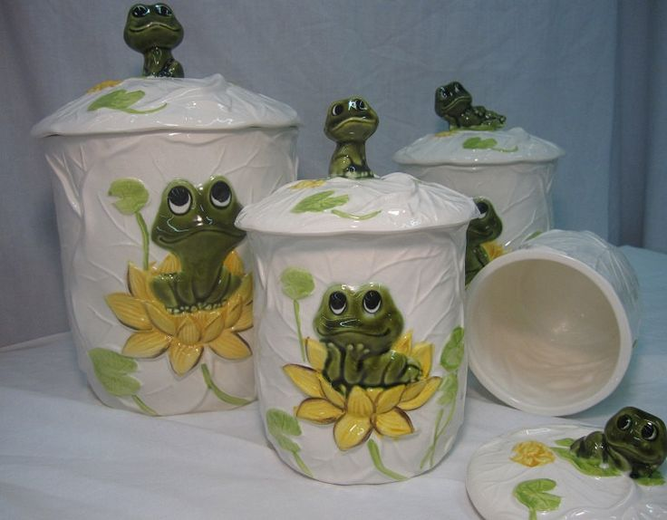 Neil The Frog Complete 8 Piece Kitchen Ceramic Canister