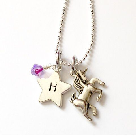 Personalized Unicorn Initial Necklace with Birthstone