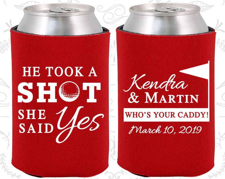 He Took a Shot, She Said Yes, Wedding Gift Ideas, Golf Wedding Gift, Sports Wedding Gift, Wedding Koozies (320)