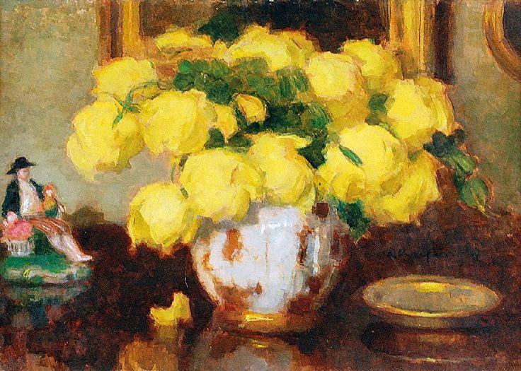 Alfons KARPIŃSKI (1875-1961)  Żółte róże w wazonie z porcelanową figurką olej, tektura; 35 x 50 cm;