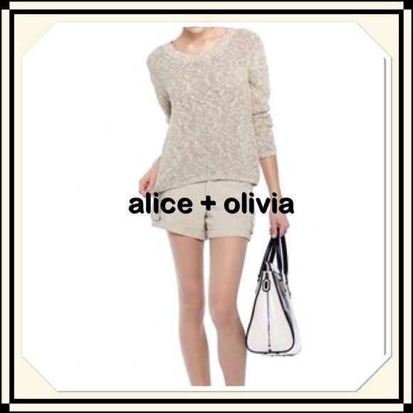 "alice + olivia Sweater SALE This stunning, open weave sweater is great for layering. 22"" long. Arm length 20"" from under arm. From under arm to under arm is 18"". Alice + Olivia Sweaters"