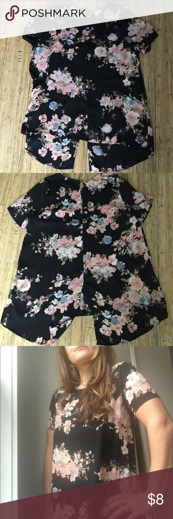 Sienna Sky floral blouse 🎁4 for $20 Deal Black background with baby pink floral pattern, rear is slightly longer and split for a tunic look Sienna Sky Tops