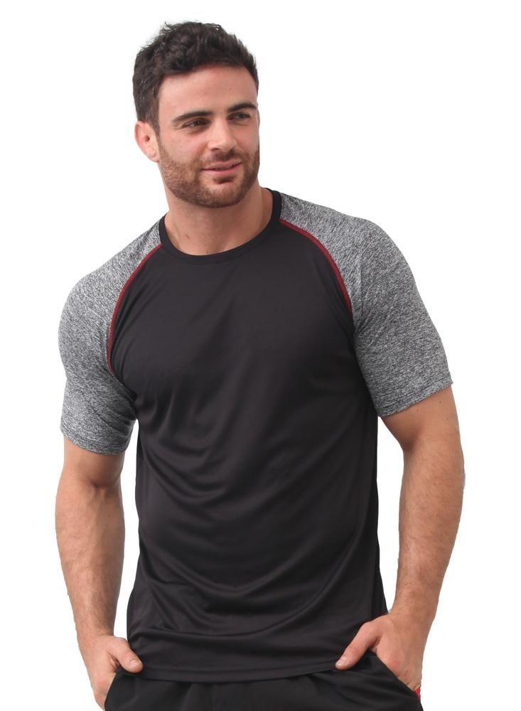 Camiseta Deportiva Manga Corta Gris Negro  b87cb545eebbe